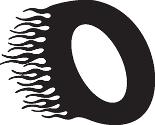 Flaming zero (0) decal