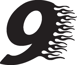 Flaming 9 decal
