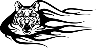 Flaming Tiger Head decal