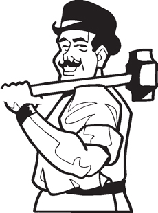 Man with Sledge Hammer decal