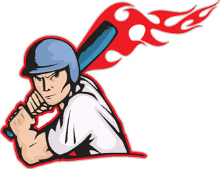 Flaming Baseball Batter decal 3
