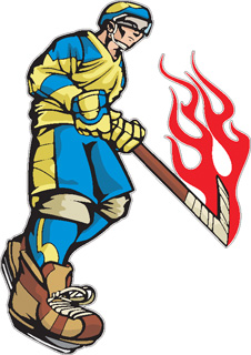 Flaming Hockey Player decal 3