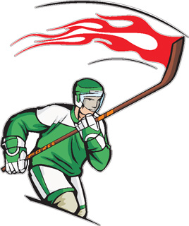 Flaming Hockey Player decal