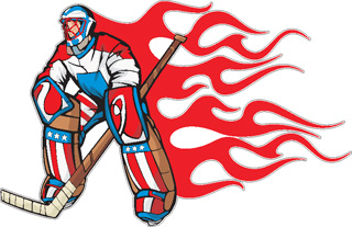 Flaming Hockey Goalie decal 3