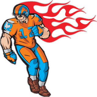 Flaming Football Player decal 3