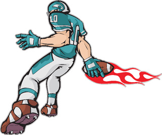 Flaming Football Player decal 2
