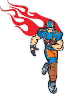 Flaming Football Player decal 6