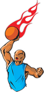 Flaming Basketball Player decal 2