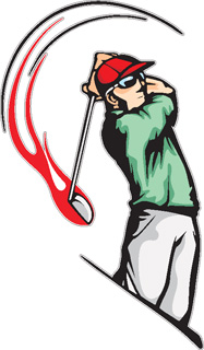 Flaming Golf Player decal 3