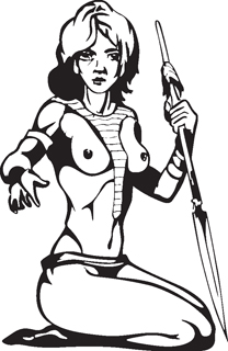 Sexy warrior girl decal 2
