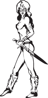 Sexy warrior girl decal 3