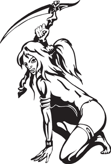 Sexy warrior girl decal 7