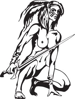 Sexy warrior girl decal 9