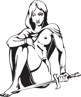 Sexy warrior girl decal 10