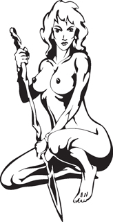 Sexy warrior girl decal 11