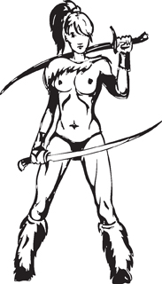 Sexy warrior girl decal 16