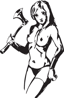 Sexy warrior girl decal 17