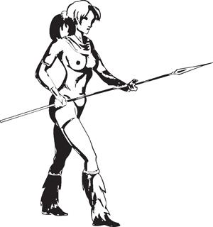 Sexy warrior girl decal 18