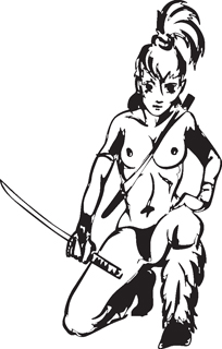 Sexy warrior girl decal 24