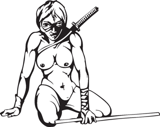 Sexy warrior girl decal 26