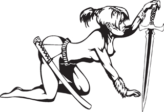 Sexy warrior girl decal 27