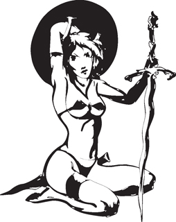 Sexy warrior girl decal 29