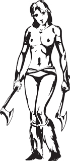 Sexy warrior girl decal 33
