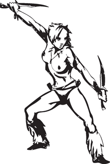 Sexy warrior girl decal 34