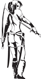 Sexy warrior girl decal 36