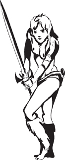 Sexy warrior girl decal 38
