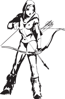 Sexy warrior girl decal 45