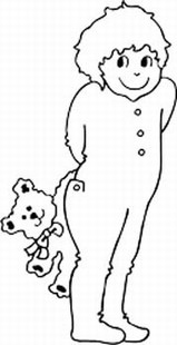 Boy in Pajamas with Teddy Bear