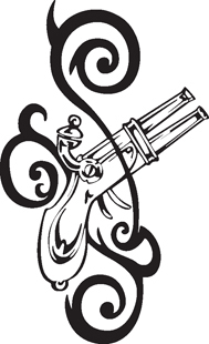 tribal Double Barrel pistol decal