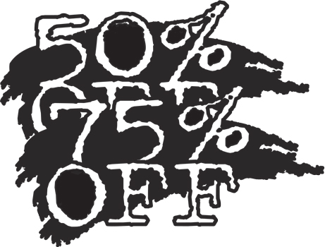 50% 75% off Window Decal