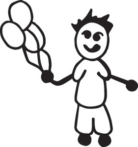 Stick Family Boy With  Balloons