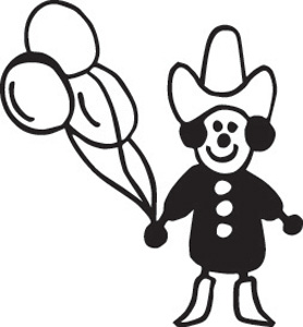 Stick Family Balloon Cowboy